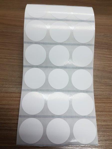 Etiqueta branca redonda